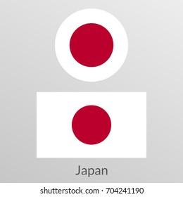 Japan flag set. Japanese national symbol.