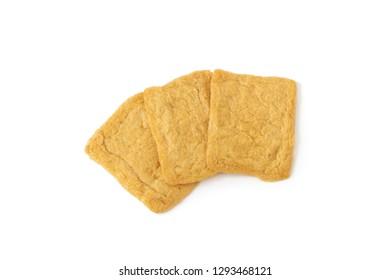 Japan fried tofu on isolated white background