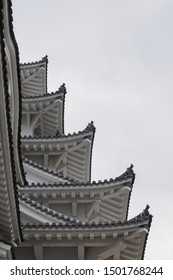 Japan, Himeji - March 2019: Roof structure of Himeji Castle in Black and White