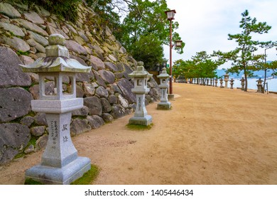Japan, Hiroshima, Miyajima - November 19, 2018: Details of Itsukushima or Miyajima, most famous for its floating gate, or torii. The complex is listed as a UNESCO World Heritage Site.