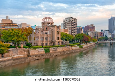 Japan, Hiroshima - November 18, 2018: Hiroshima Peace Memorial, now called Atomic Bomb Dome. The ruin memorial to the people who were killed in the atomic bombing of Hiroshima on  6 August 1945.