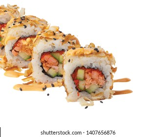Japan hot baked sushi rolls with rice and fish. isolated