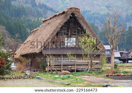 Japan - house with thatched roof in Shirakawa-Go, famous village listed as UNESCO World Heritage Site. Gifu prefecture.