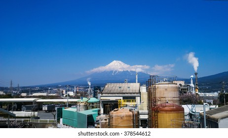 Japan industrial zone and Mountain fuji at Shizuoka prefecture