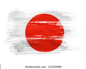 Japan. Japanese flag  on white background