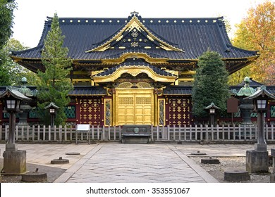 Japan, Japanese gold pattern door at Buddhist temple Ueno Toshogu Shrine in Tokyo