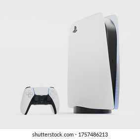 Japan - June 11, 2020. Presentation of a new product from Sony, wireless white console PlayStation 5 and gamepad on white background, game console. 3d rendering illustration
