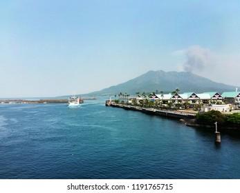 Japan Kagoshima Volcano Sakurajima Ontako mountain smoke nature landscape