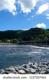 Japan Kyoto Arashiyama Katsuragawa Togetsu Bridge