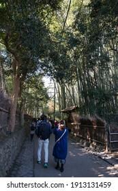 JAPAN, KYOTO - November 24, 2017: People walking at Bamboo Forest,Arashiyama in Kyoto