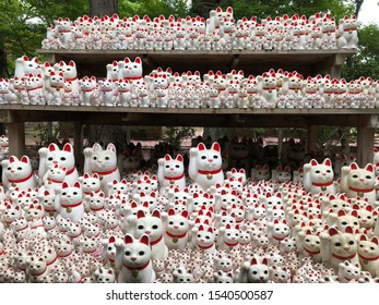 """JAPAN MAY 2019: famous white cat with red collar and jingle bell with his leg up. The beckoning cat"""" known as maneki neko at Gotokuji in Tokyo,in diferents sizes and from diferents views"""