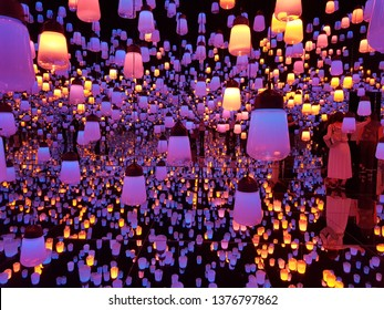 Japan, Mori Digital of Art Museum, the Lanterns room exhibition located at teamlab bordeless in Odaiba; Japan on April 19, 2019