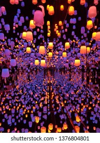 Japan, Mori Digital of Art Museum, Teamlab Borderless, the Lanterns exhibition located Odaiba; Tokyo, Japan on April 19, 2019
