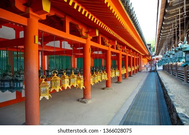 Japan, Nara, the red wooden architectures of the Kasuga temple