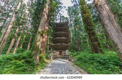 Japan National Treasure Five Store Pagoda at Mount Haguro, One of the three sacred mountains of Dewa Province (Dewa Sanzan). Located in Yamagata Prefecture