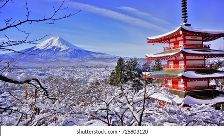 JAPAN - NOVEMBER 25, 2016: The Chureito Pagoda with the background of Mount Fuji during winter.This is one of the famous spot to take pictures of Mount Fuji.