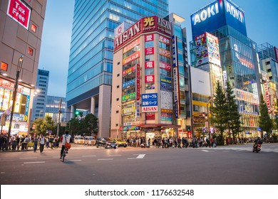 JAPAN - October 22, 2016: People and Tourist at Akihabara shopping street in Tokyo , This is a popular shopping of electronics games and anime in Tokyo