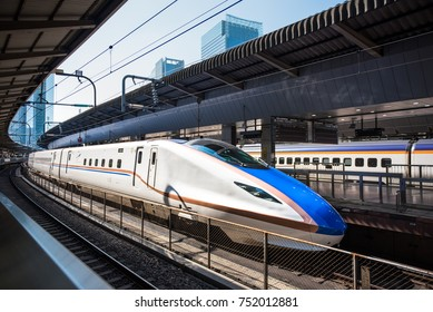 JAPAN - OCTOBER 26, 2017 : E7 Series of high-speed bullet train Shinkansen, Japan.
