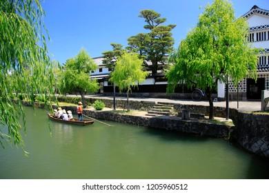 Japan old town canals .Kurashiki , okayama prefecture japan