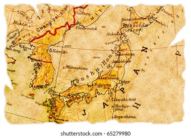 Japan on an old torn map from 1949, isolated. Part of the old map series.