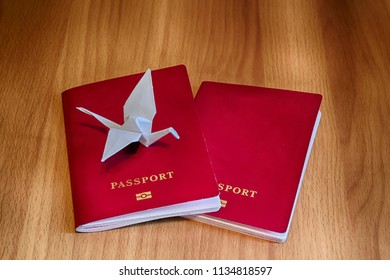 Japan origami paper crane sitting on foreign passports