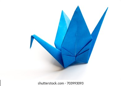 Japan origami paper fold in crane shape on white background