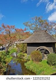Japan, Oshino Hakkai - 28 October 2017 :ฺ Beautiful view from Oshino Hakkai, a small village with 8 clear ponds in Fuji Five Lake area.
