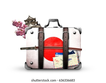 Japan, retro suitcase with a Japanese flag and sword