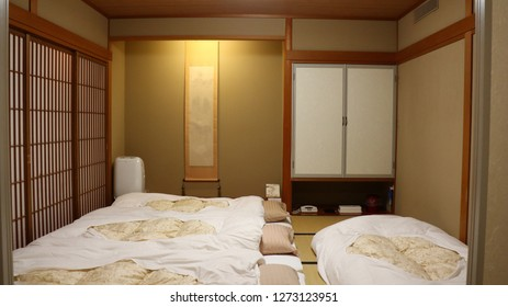 Japan ryokan with blanket and pillow in bedroom japanese style