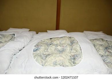 Japan ryokan and white blanket