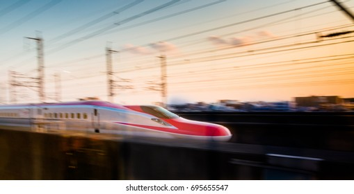 JAPAN, SAITAMA - 14 April 2014 : Shinkansen high speed train using E6 rolling stock running Tohoku line.