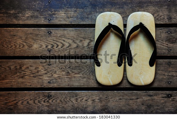 Japan sandals on a wooden floor