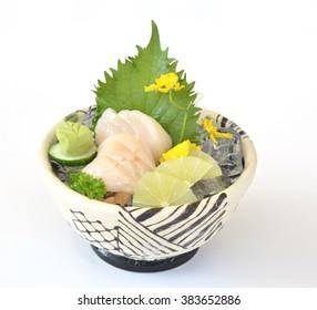 Japan sashimi fresh fish seafood on bowl, seabream on bowl