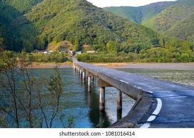 Japan ShikokuTochi Shimanto River Low - water crossing Irish bridge