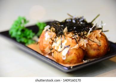 """Japan street food """"Takoyaki"""" (octopus balls)"""