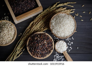 Japan and Thai jasmine rice and paddy rice seed on wooden table