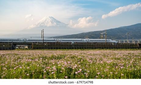 Japan Tokaido Shinkansen with Mount Fuji in Background