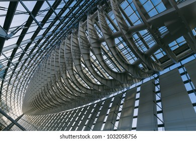 Japan, Tokyo - Dec 27, 2017 - Interior of Tokyo International Forum, building of glass and steel.