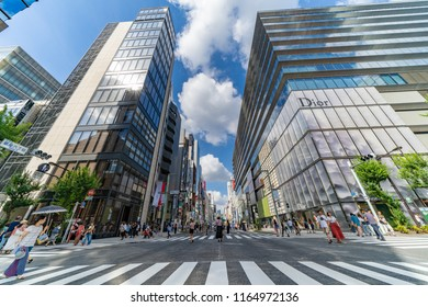 JAPAN, TOKYO, Ginza Street – August 2018: Shopping at The Ginza District. Tokyo's most famous upmarket shopping, dining and entertainment district. Wide Angle HDR Shot.