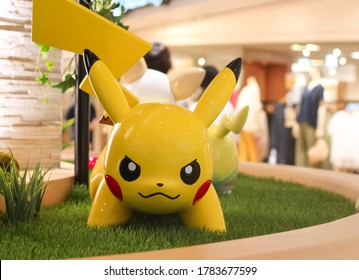 Japan, Tokyo - July 26, 2020 - Statue of the character Pikachu from Pokemon, decoration in front of the Pokémon Center Mega Tokyo in Ikebukuro