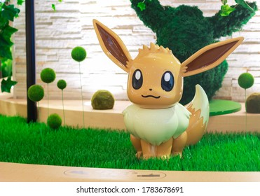 Japan, Tokyo - July 26, 2020 - Statue of the character Eevee from Pokemon, decoration in front of the Pokémon Center Mega Tokyo in Ikebukuro