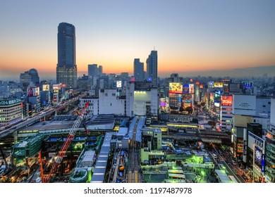 JAPAN, TOKYO - NOVEMBER 2016: Shibuya Skyline from top view at twilight in Tokyo, Japan.
