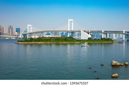 Japan, Tokyo, the Rainbow bridge seen from the Odaiba island