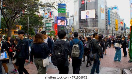 Japan Tokyo Shibuya  at scramble crossing area  October 2017