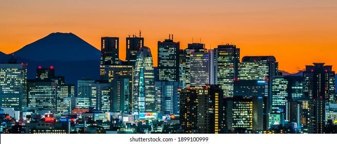 Japan, Tokyo sunset, skyscrapers in Shinjuku and silhouette of Mt.Fuji