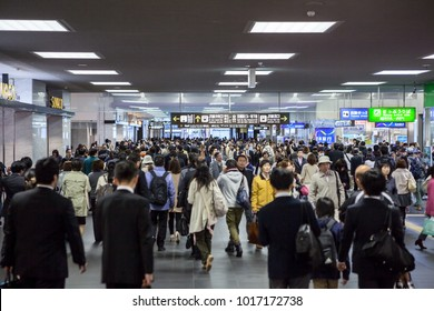 JAPAN, TOKYO-CIRCA APR, 2013: Passage to the JR lines is in Kyoto railway station. Crowds of passengers find gates in halls and corridors. Kyoto railstation is the largest traffic building