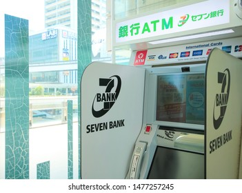 Japan, Toyko - August 9, 2019 - ATM of Seven Bank in Tachikawa. Seven Bank, Ltd.  is a Japanese bank. It is a subsidiary of Seven & I Holdings Co., Ltd. (parent company of 7-Eleven Japan).