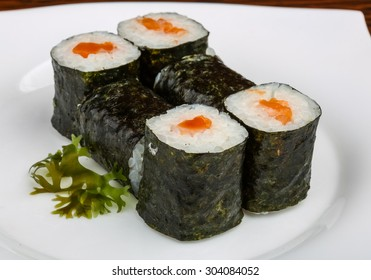 Japan traditional Fresh cold Salmon roll served nori