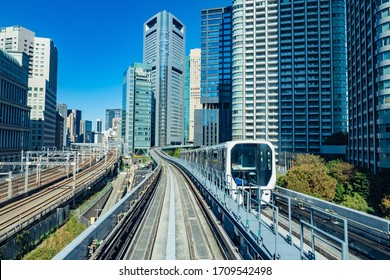 Japan. Train on the background of skyscrapers in the capital of Japan. Transport in Tokyo. Transport network of roads and Railways. Different types of transport. Travel to Tokyo.
