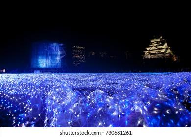 Japan travel. Osaka Castle Illumination. Christmas light up